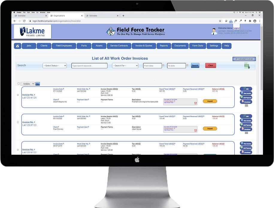 Field Service Invoice Software