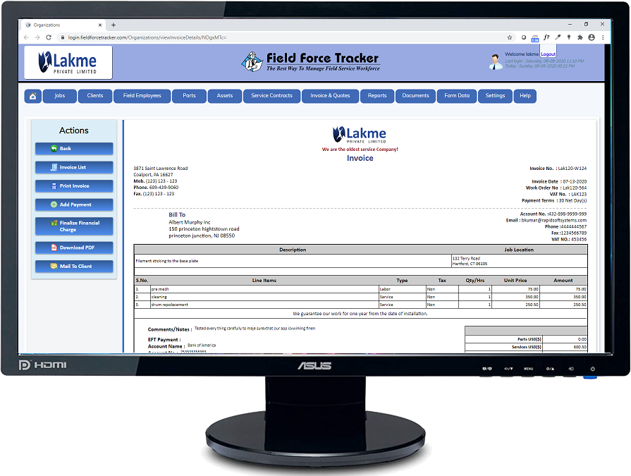 Field Service Software for Invoicing