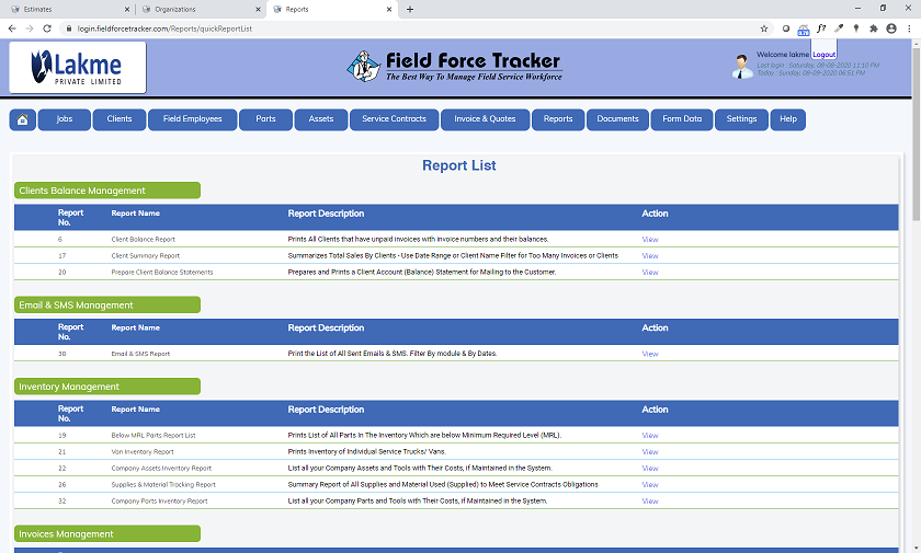 Field Service Software Reports
